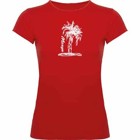 Camiseta Mujer roja Palmera blanca