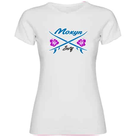 Camisetas blanca niña tablas surf moxyn