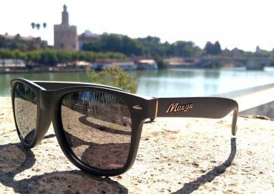 Gafas de sol Polarizadas Gris lente plata revo Torre del ORO